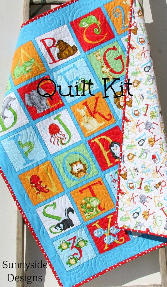 Last one quilt kit abc 123 panel quick easy fun beginner gender neutral quilt baby blanket nursery crib bedding cot quilt abc number letters alphabet animals red blue green blanket by spiritdancerdesigns Images