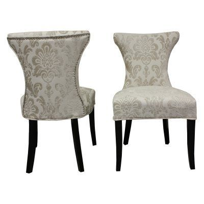 Hd Couture Cosmo Damask Side Chair Set Of 2 Cream Hd60041 Side Chairs Chair