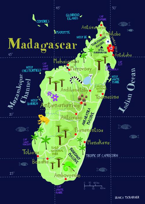 Madagascar Illustrated Map Matkustus Kartta Afrikka