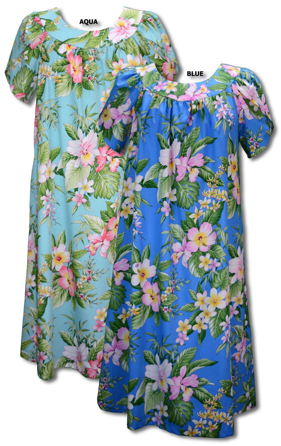 110466bead3a Tea Length · Ankle Length · Hibiscus Plumeria Orchid Hawaiian MuuMuu,  (Kaftan / Caftan), Pull-Over House