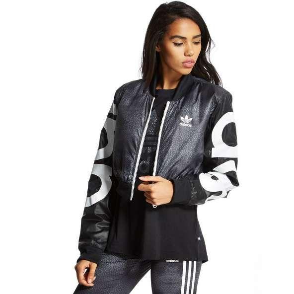 adidas crop jacket grau