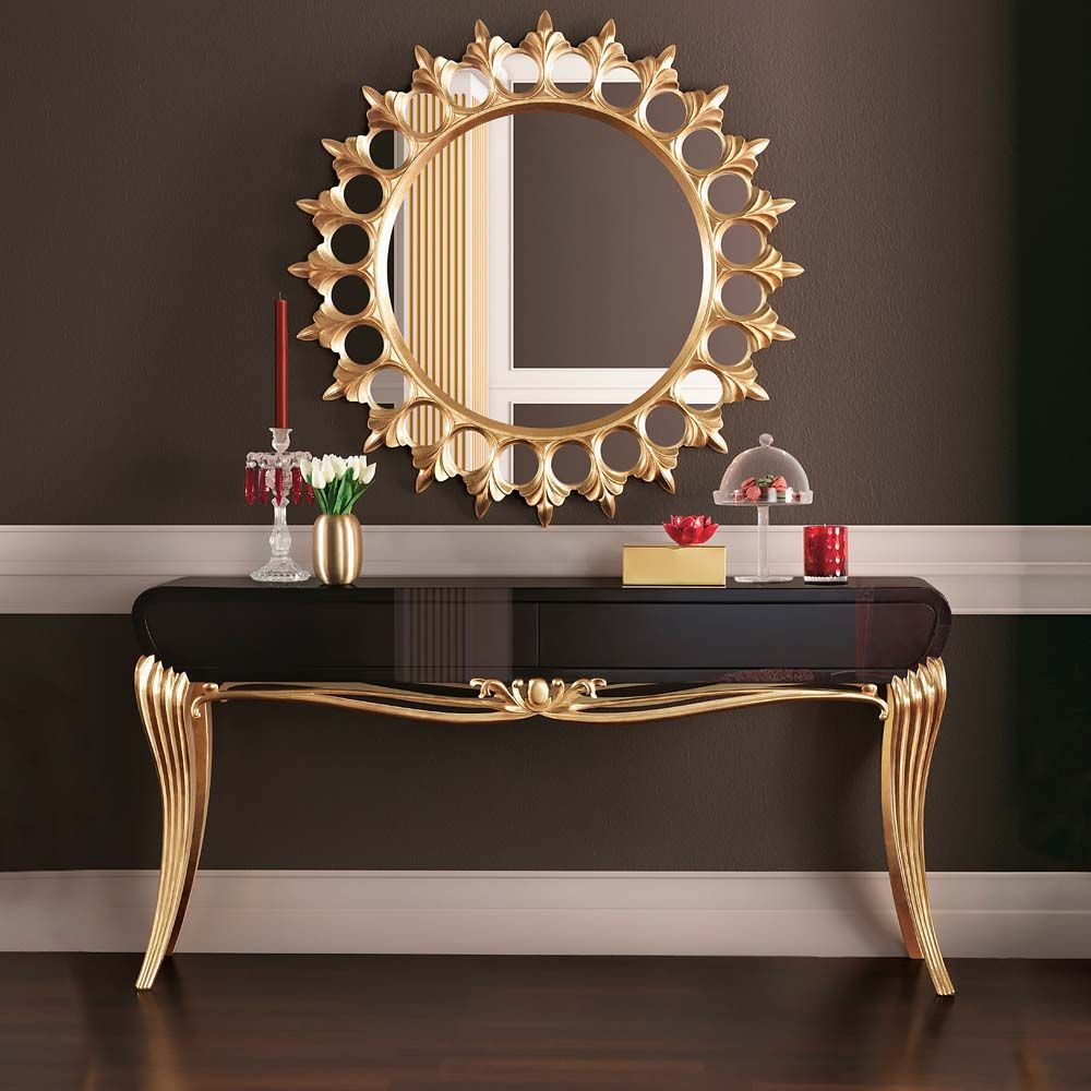Ordinaire Modern Black Lacquered Gold Leaf Console Table