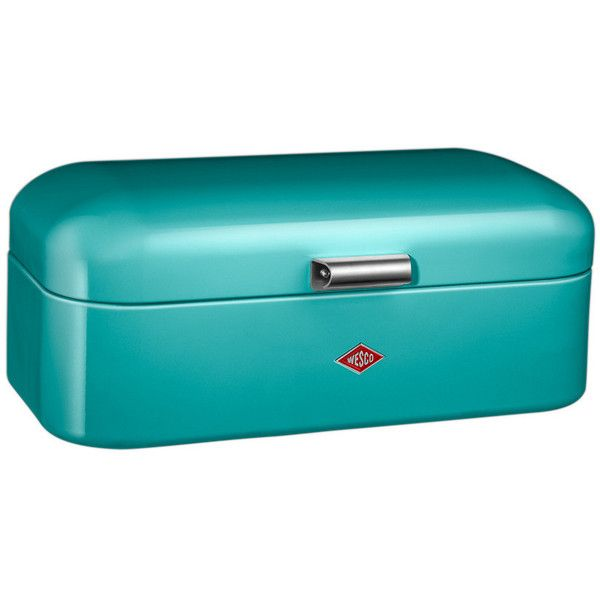 Turquoise Bread Box Wesco Grandy Bread Bin  Turquoise $93 ❤ Liked On Polyvore