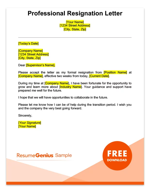 two weeks notice letter sample free download cv objective for accountant professional resume samples in word format best bca freshers