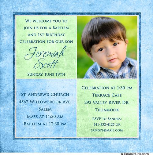 1st birthday and christening/baptism invitation sample