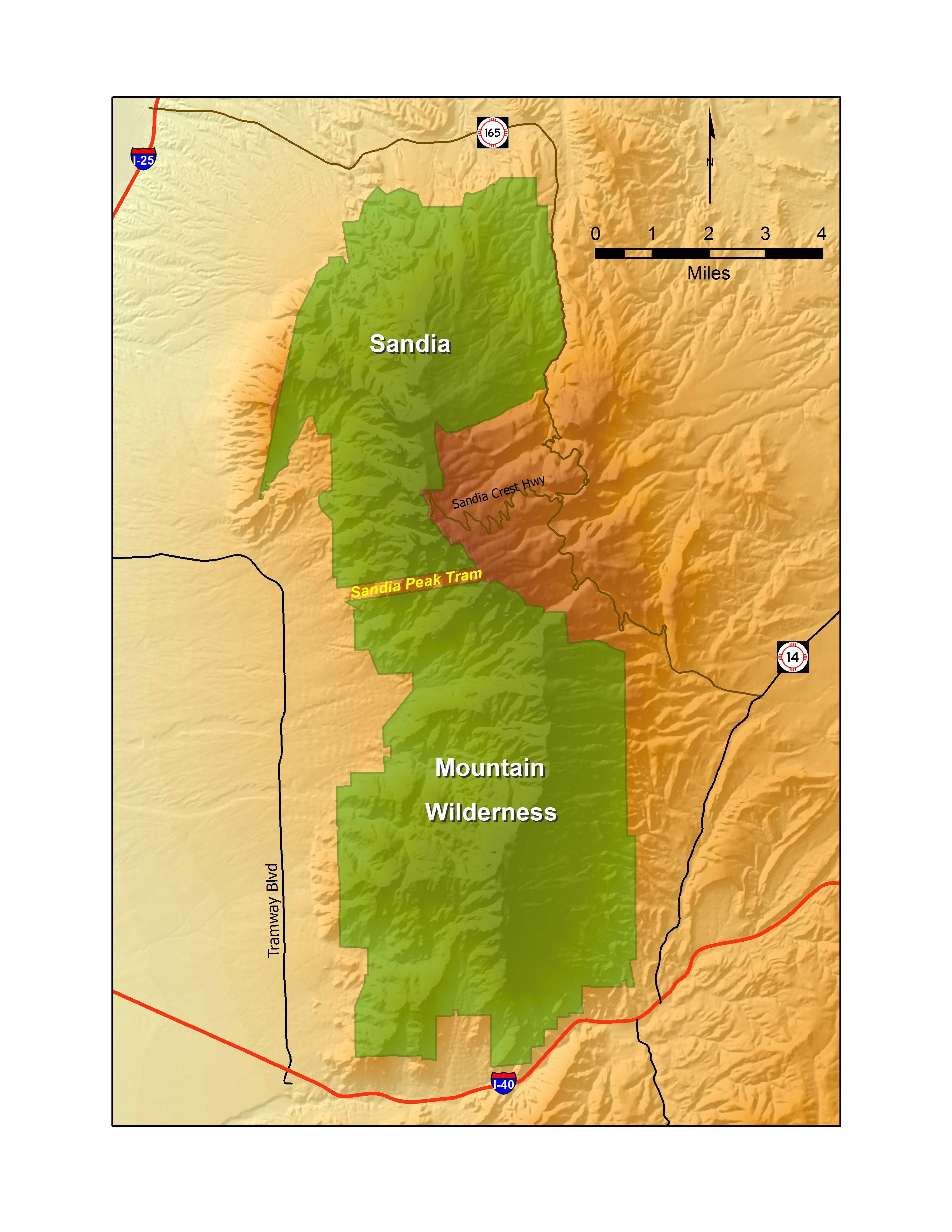 Map of New Mexico\'s Sandia Mountain Wilderness. The Sandia ...