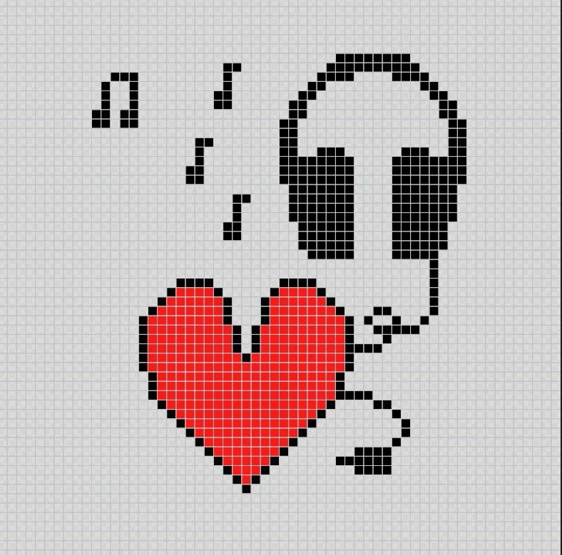 I Love Music (Yo amo la música) - Pixel Art Patterns