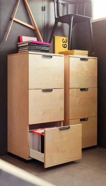 Two Galant File Cabinets In Birch Veneer