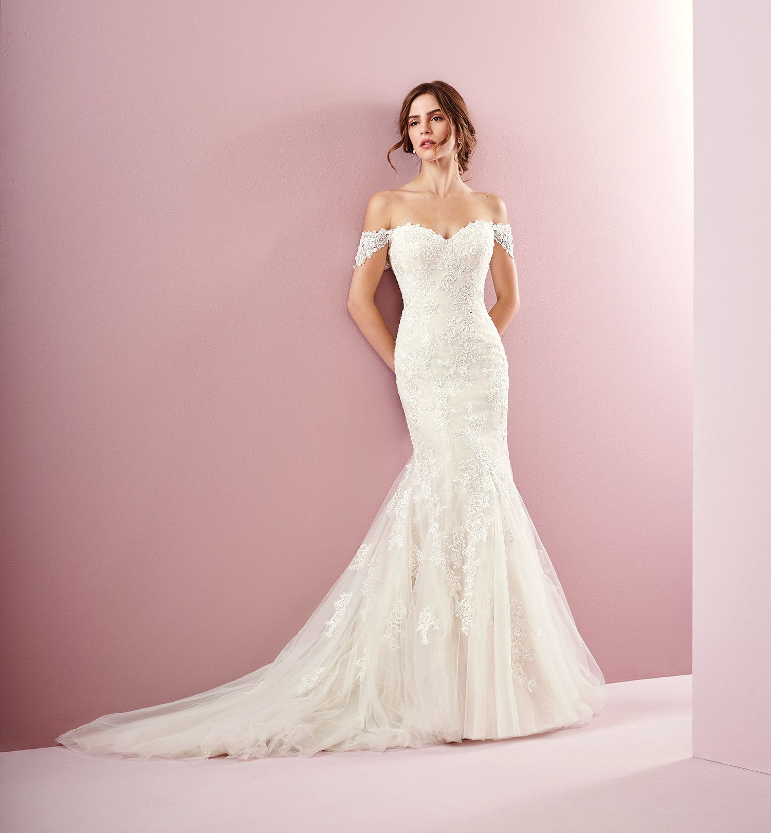 Rebecca ingram spring 2019 wedding dress collection pinterest amber lace trumpet wedding dress with off the shoulder neckline by rebecca junglespirit Images