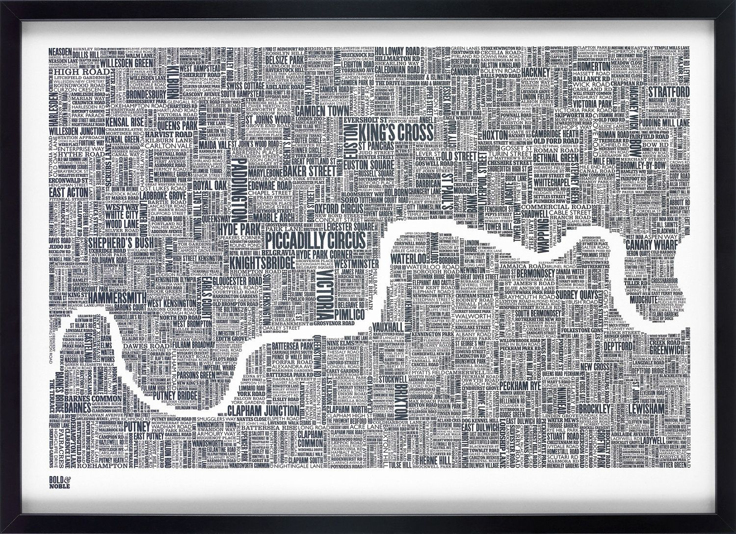 Central London Map To Print.London London Map London Type Map London Wall Art London