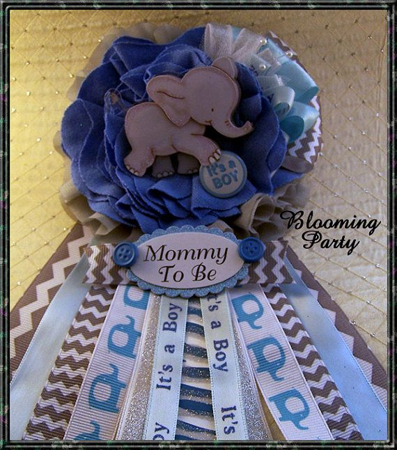 Blue And Gray Elephant Mommy To Be Corsage Elephant Baby
