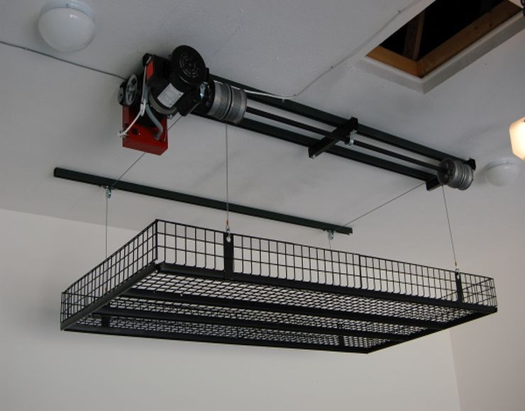 Or Just Be Lazy Put A Winch Up Suspended Garage Storage