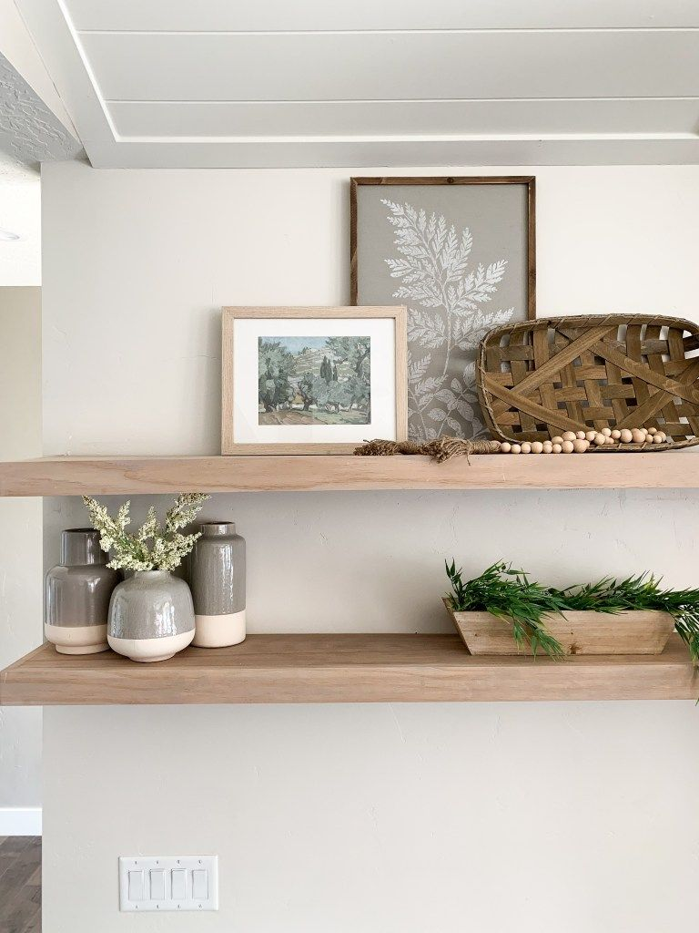 Budget Friendly Faux White Oak Floating Shelves Oak Floating