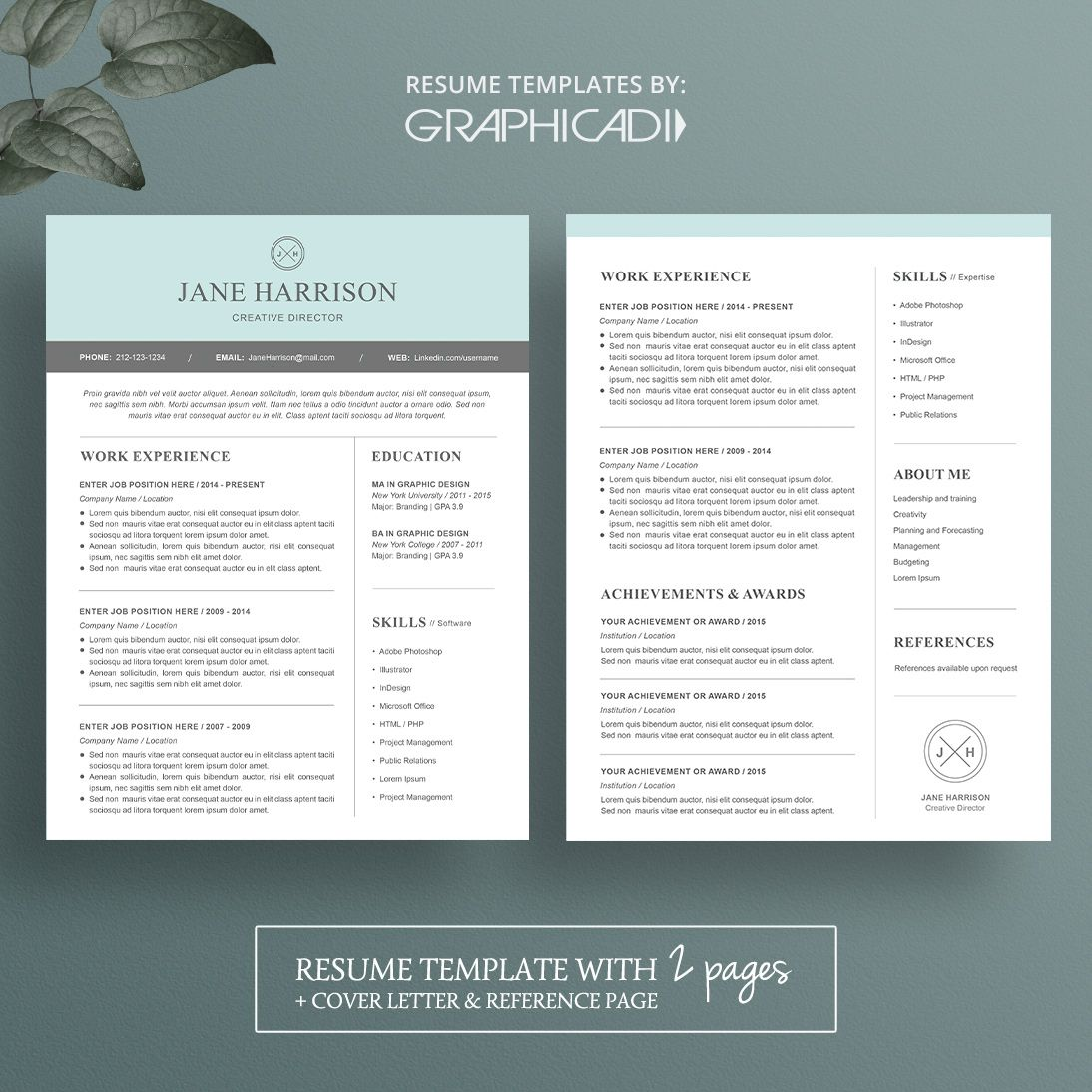 Modern 2 Page Resume Template With Cover Letter And Reference Page