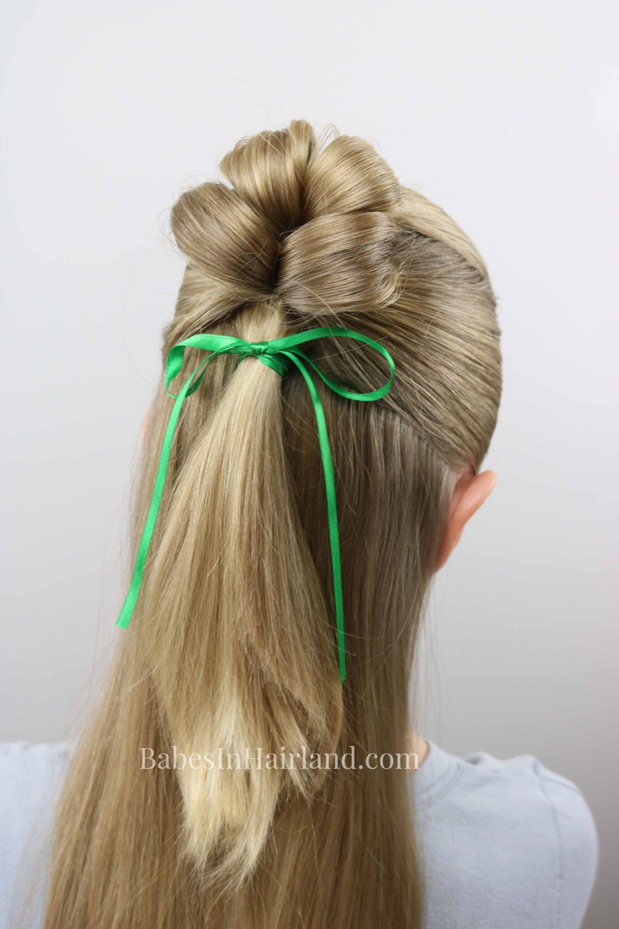 4 Leaf Clover Hairstyle St Patrick S Day Cute Lucky Shamrock Clover Hairstyle Kids Hairstyles Hair Styles