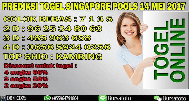 Prediksi Togel Singapore Pools 14 Mei 2017 bursatoto.com