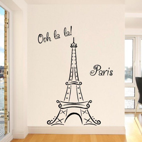 Eiffel Tower Ooh La La Paris vinyl lettering wall saying ...