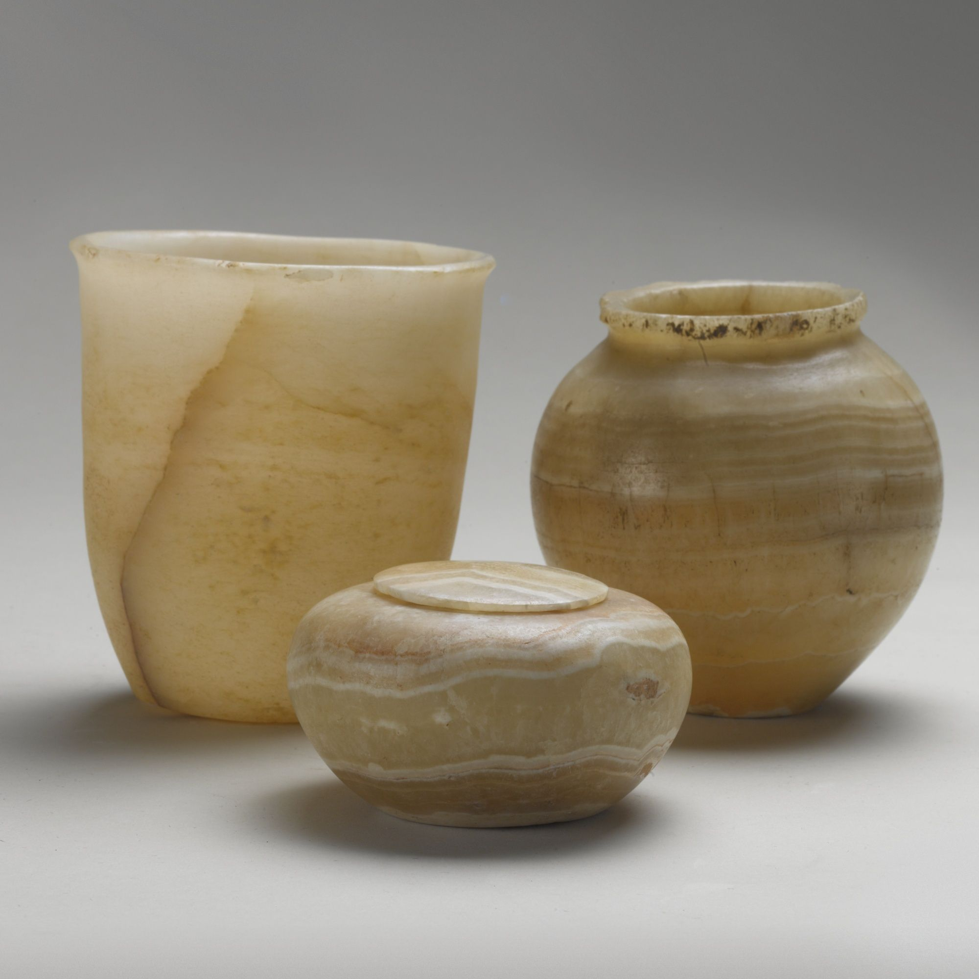 Three Ancient Egyptian Alabaster Vessels Lidded Bowl Jar And