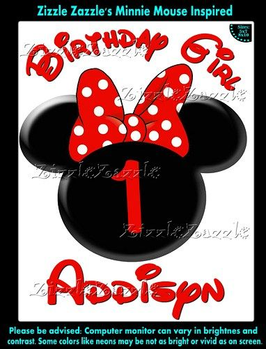 Minnie Mouse Red Minnie Head Girl Birthday Party Shirt Iron On Transfer /OR DIY FILE / OrShirt Decal Applique T Shirt, Personalized Custom
