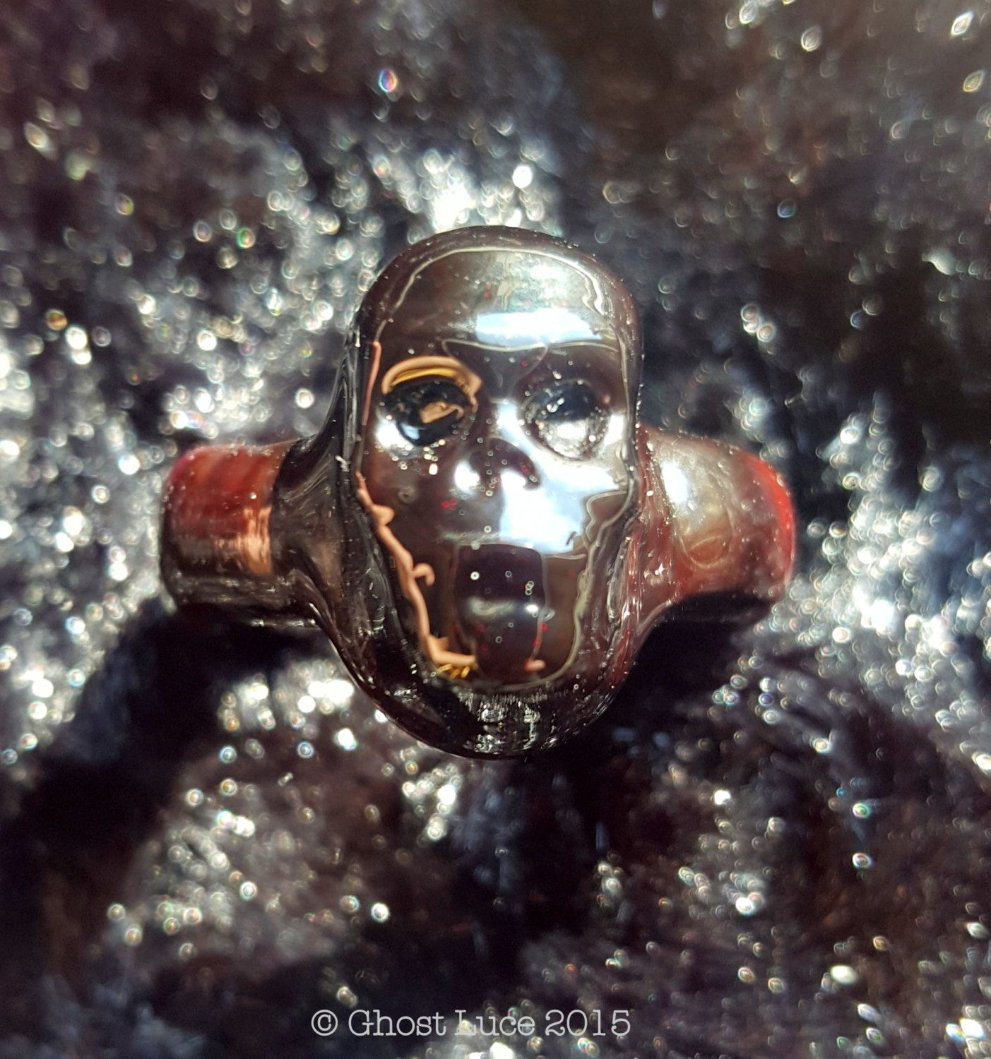 "Hand Made ""Wenches"" Glass Skull Ring Blood Red Women's size 6 Ghost Luce by GhostLuceCreations on Etsy"