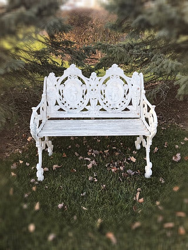 Delicieux Gorgeous Antique Garden Bench /Cast Iron Outdoor Bench/Antique Outside  Furniture /Shabby Iron Bench/Cottage Bench