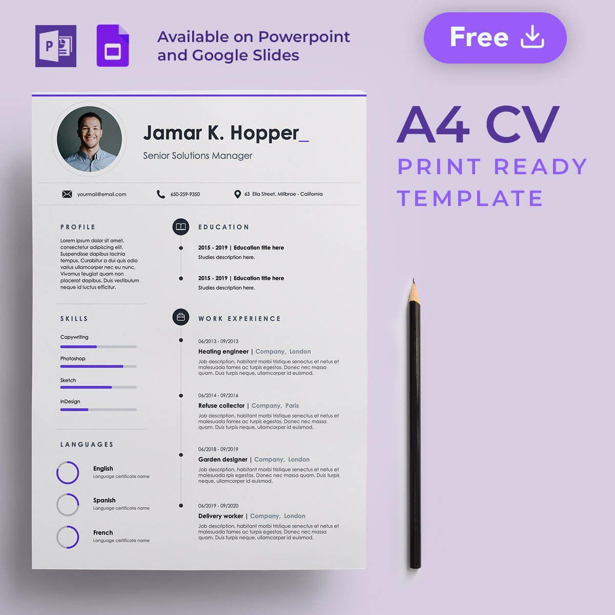 Line A4 Cv Free Presentation Template Presentation Template Free Presentation Templates Presentation