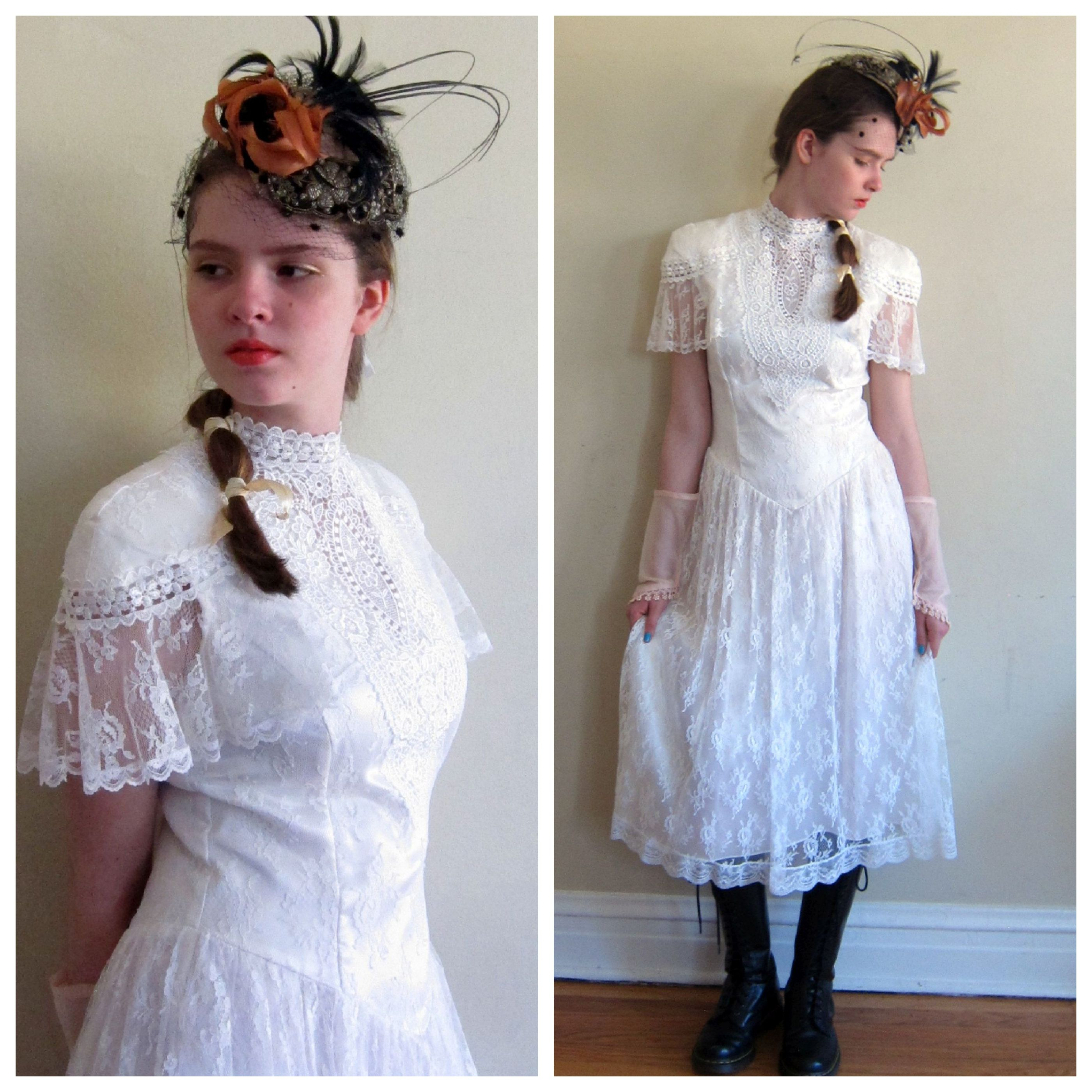 Vintage s white lace dress with short flutter sleeves and drop