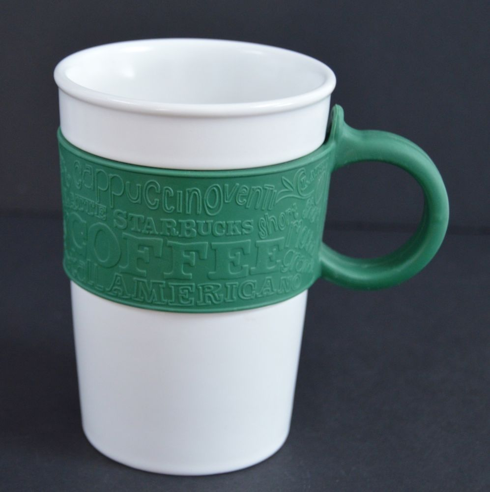 This Mug Features A Green Rubber Sleeve And Handle Starbucks White 12 Oz Coffee Tea Cup 2008 Relief