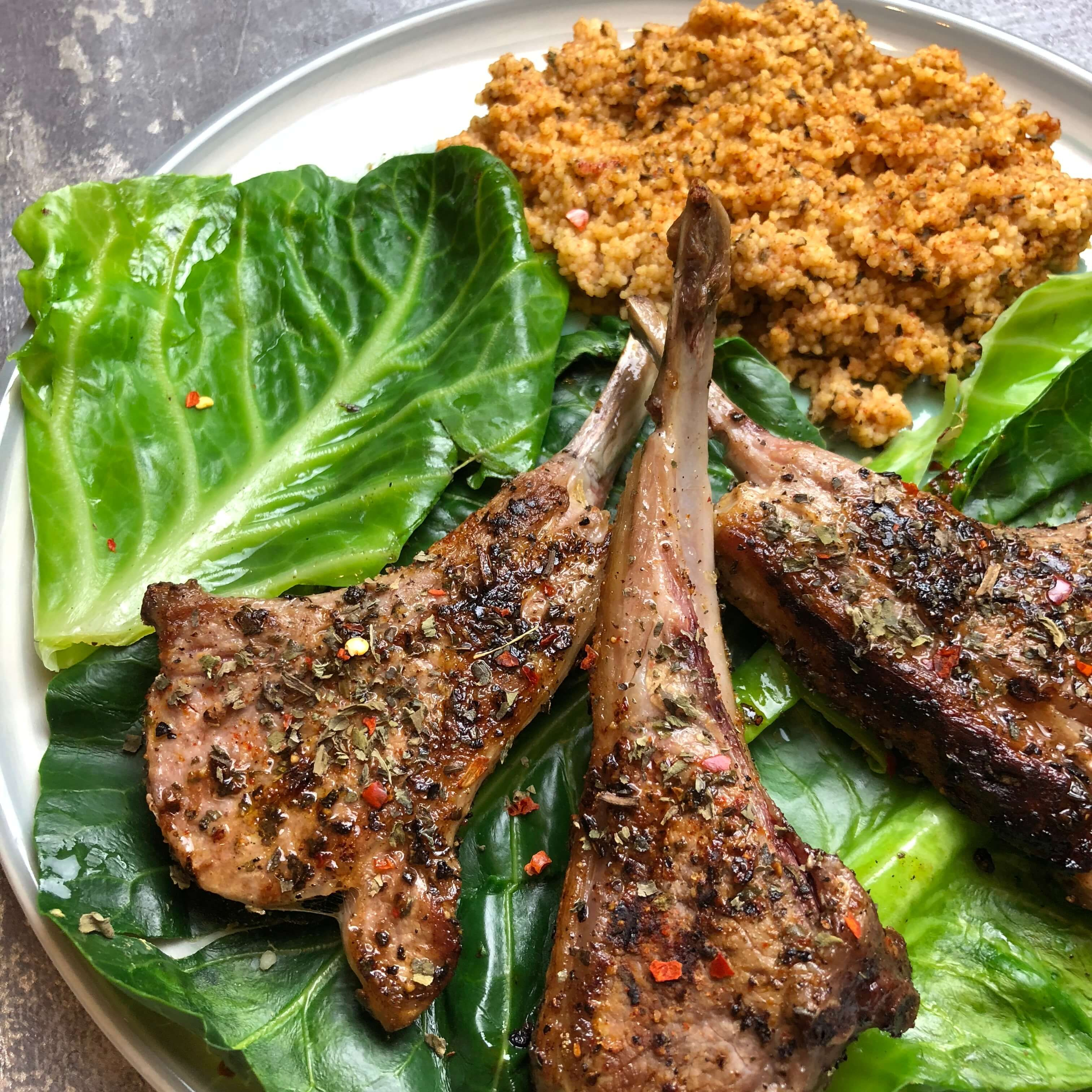 Nates Chilli Garlic Mint Lamb Cutlets With Spiced Couscous Recipe