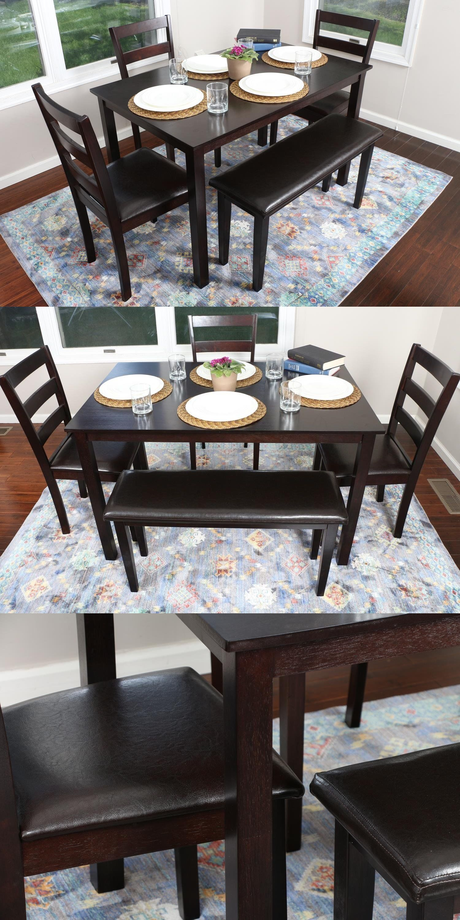 Dining Sets 107578 5 Piece Kitchen Table Set Bench Espresso Brown 150232 BUY IT NOW ONLY 250 On EBay
