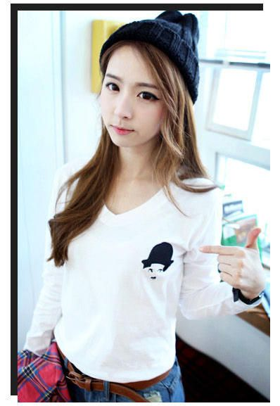 White Long Sleeves Korean Fashionable Cute Blouse with Face Print 1 식보사이트식보사이트식보사이트 md414.com - md414.com