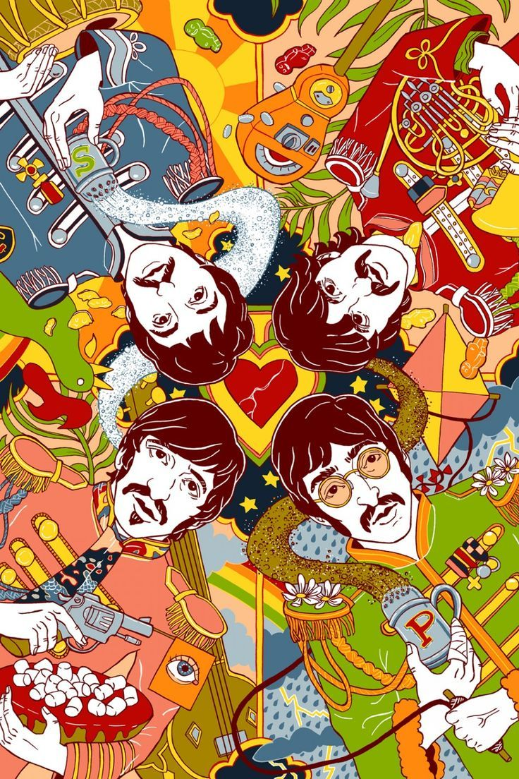 Обои The beatles, sgt. peppers lonely hearts club band, yellow submarine. Музыка foto 8
