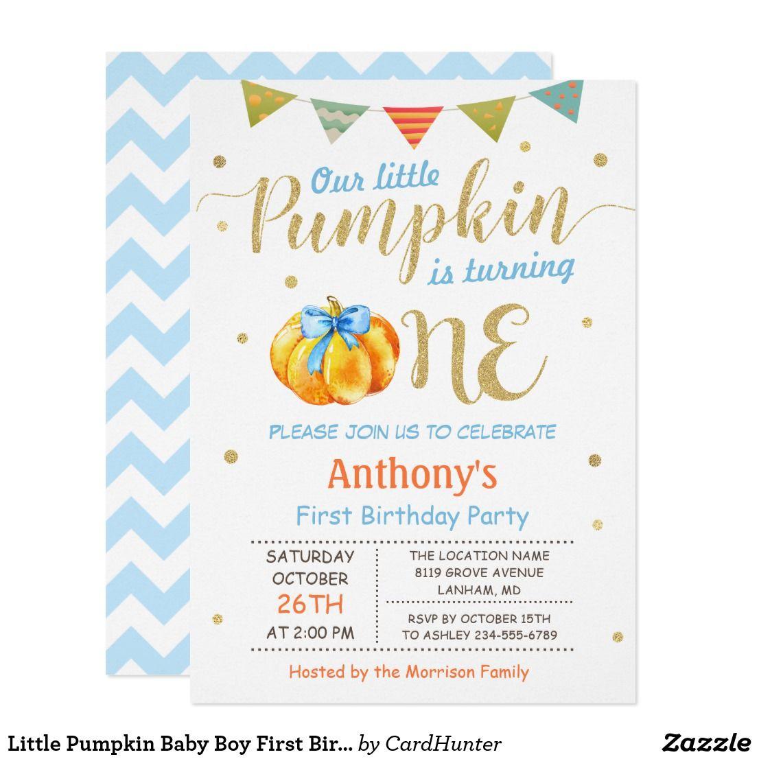 Little Pumpkin Baby Boy First Birthday Party Invitation | Fall ...