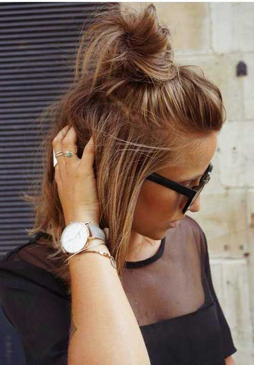 16 Cute Buns For Short Hair Hair Styles Dutt Frisur Kurze Haare