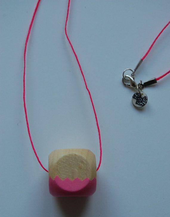Pink wood hand painted pendant by LindoRon on Etsy, $18.00