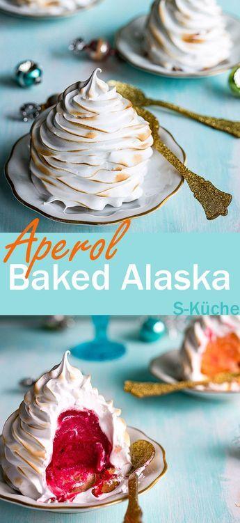 Aperol Baked Alaska - Eisbombe mit Schuss für ganz besondere Feste, gefüllt mit Aperol-Orangen-Himbeer-Sorbet