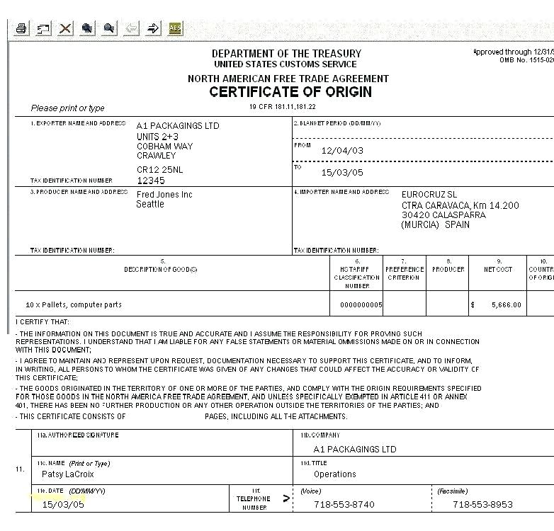 Nafta Certificate Template 3 Templates Example Templates Example