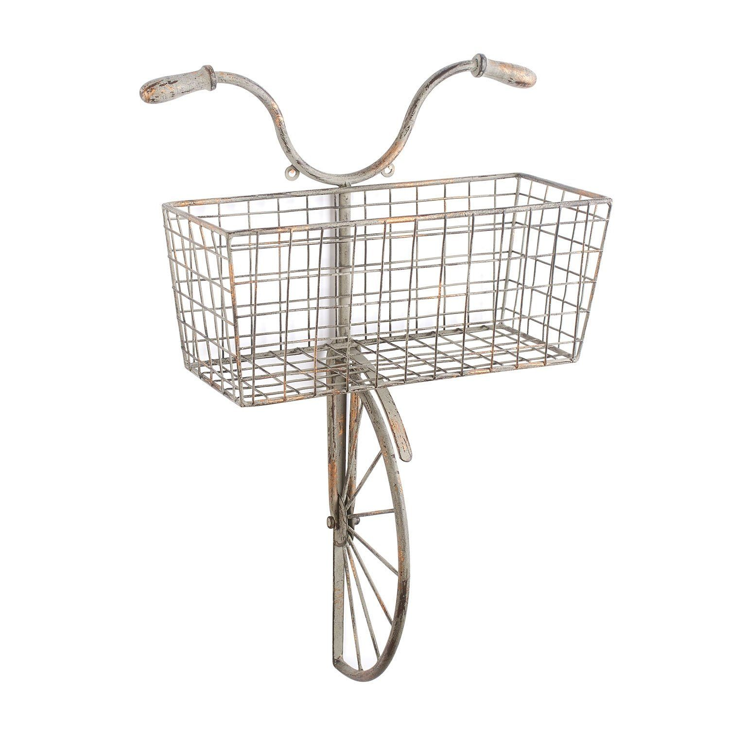 Iron Bicycle Wall Decor - Basket for Storage Magazine Rack ... on Decorative Wall Sconces For Flowers Hanging Baskets Delivery id=58201