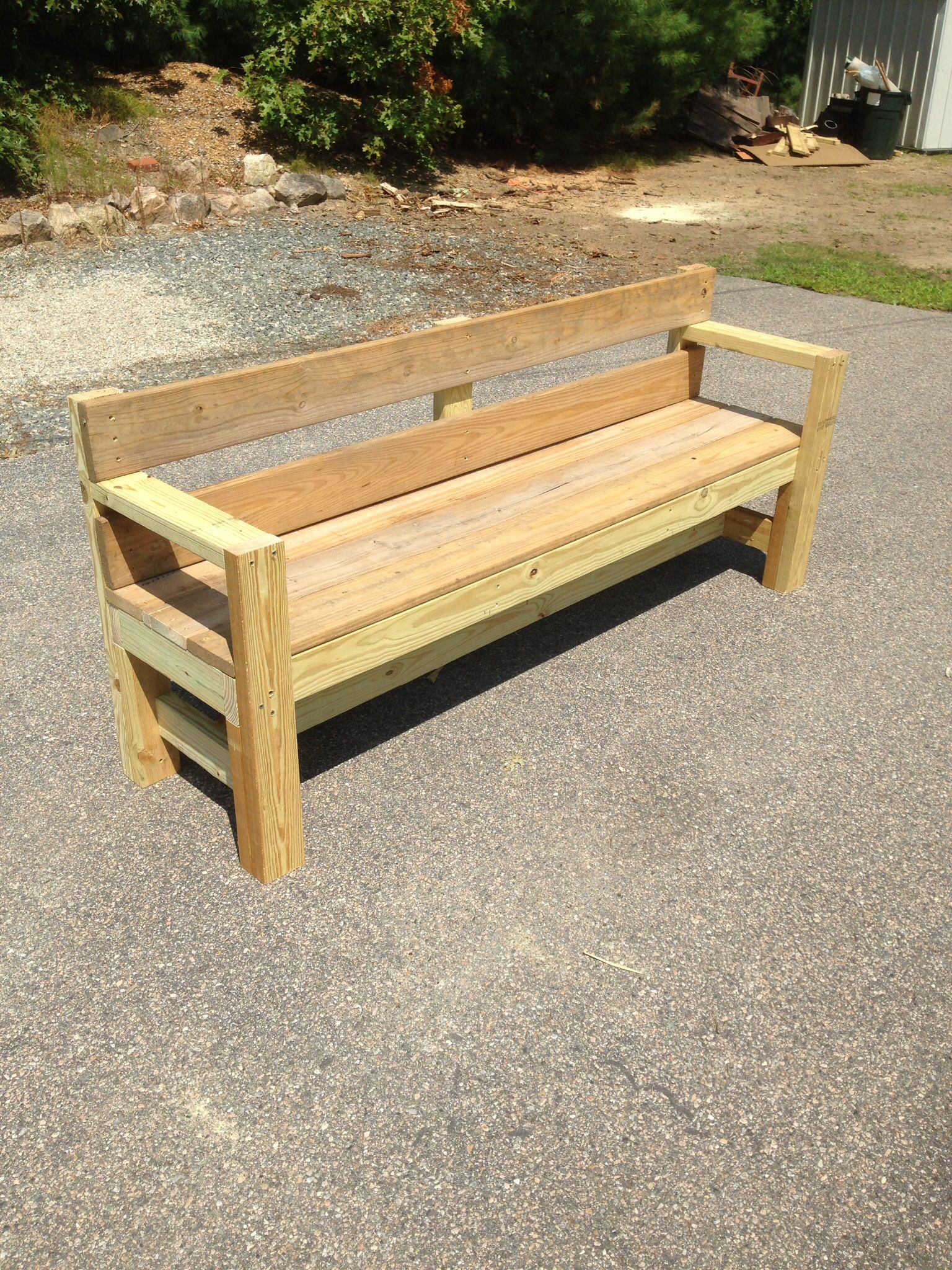 Outdoor Bench Built With Pt 2x4 S And 1x6 S 3 And 2 Decking Screws With A Few Pocket Hole Diy Outdoor Seating Outdoor Garden Furniture Diy Outdoor Furniture