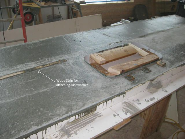 Add Wood Strips For Mounting Appliances Concrete Countertops