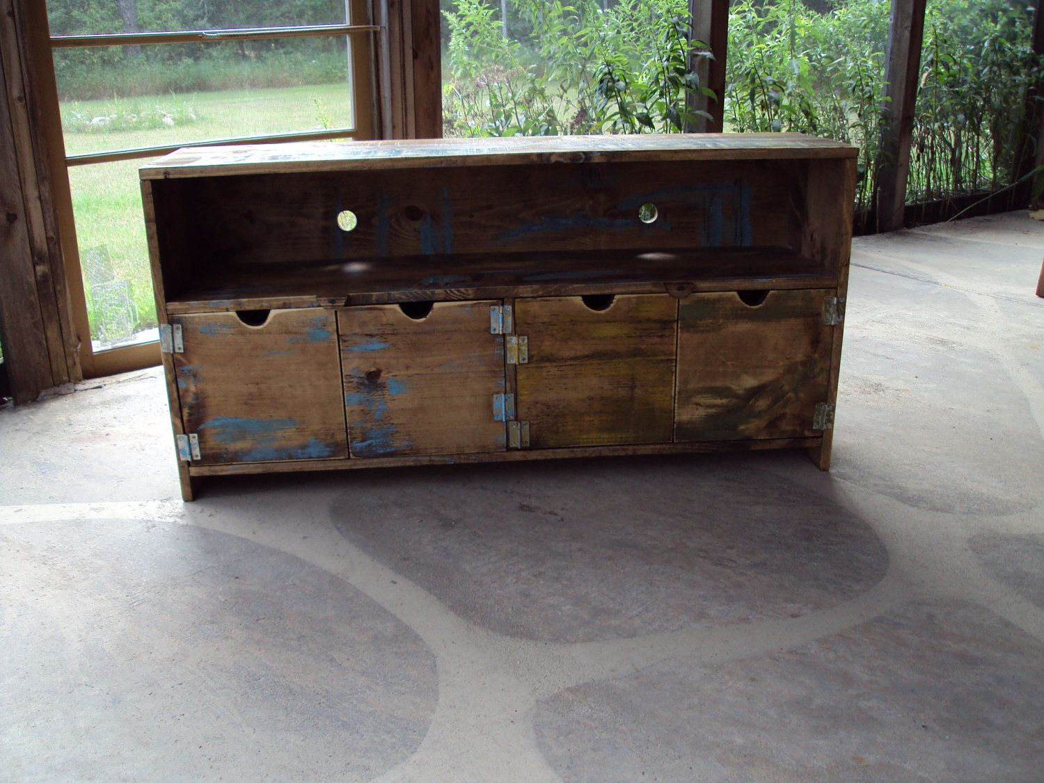 48 Inch Wide Old Barn Wood Look Tv Cabinet Storage Bench Shabby Chic
