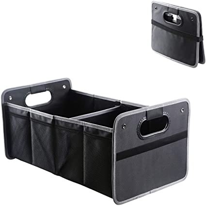 Bentu Car Boot Organiser,Trunk Organiser Collapsible Waterproof Car Storage Box/Multi Compartment Fabric Car Boot Tidy Bags (Black)