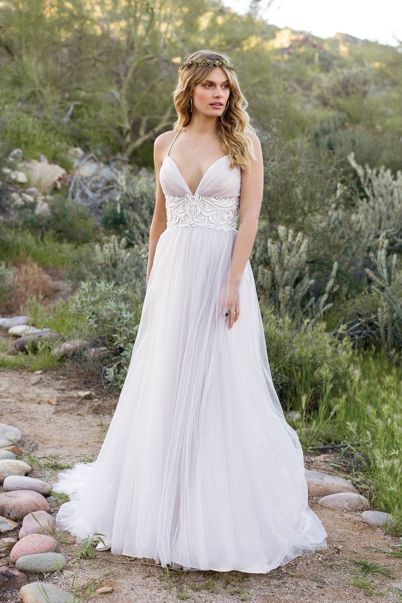 Lillian West Style 6530 Ruched Tulle Dress With Beaded Lace At Empire Waist