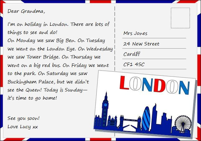 Postcard From London Writing Practice Writing Lessons Learning English For Kids