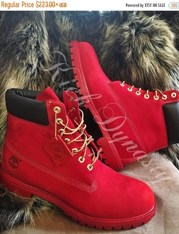 NEW YEARS SALE All Red Custom Dyed Timberland Boots by KickDynasty ... 53ae80a3ca