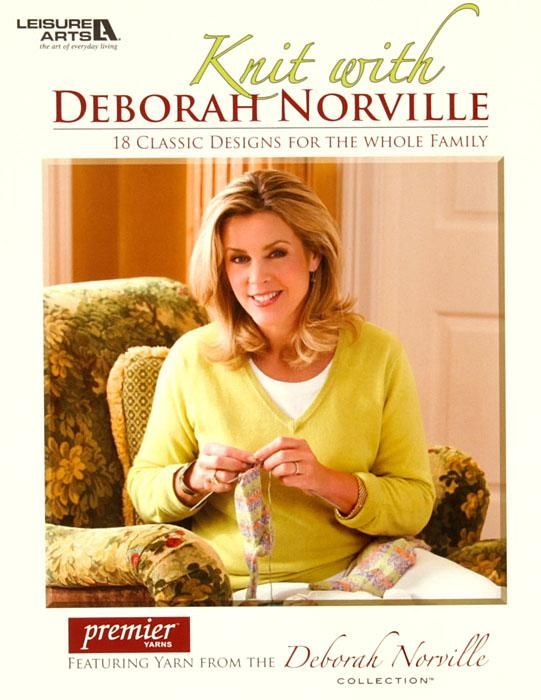 """Leisure Arts """"Knit with Deborah Norville"""" Book from @fabricdotcom  This essential knitting book features 18 neoclassic fashions and home accents, knit in the luxuriously soft Serenity knitting yarns of the Deborah Norville Collection from Premier Yarns. 18 projects in chunky, worsted, sport, and sock weight yarns: afghan & pillow; hoodie; socks; woman's turtleneck; man's v-neck vest; lace scarf & shawl; mittens; hand mitts; ribbed hat; hat; neck warmer; baby blanket; baby booties; baby ..."""