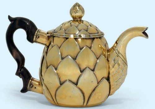 A Continental Silver-Gilt Teapot, mid 18th Century.