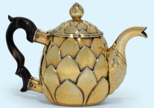 A Continental Silver-Gilt Teapot, mid 18th Century.