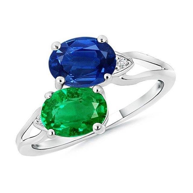 Angara Sapphire and Emerald Twin Stone Ring in Yellow Gold