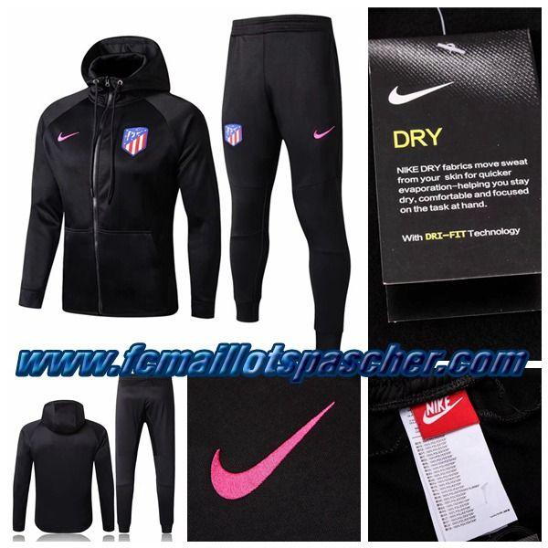 Survetement Nike Foot Pas Cher Thailande Atletico Madrid Noir 2018 Sweat A Capuche